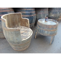 Whisky Barrel Chair & Barrel Coffee Table Set