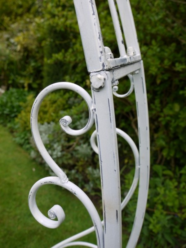 Barrel Garden White Wash Metal Garden Arch Shabby Chic