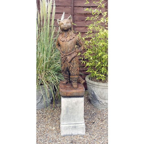 Whittington's Cat Stone Statue - Burnt Umber